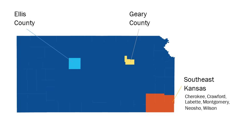 Ellis County, Geary County, Southeast Kansas (Cherokee, Crawford, Labette, Montgomery, Neosho and Wilson Counties).